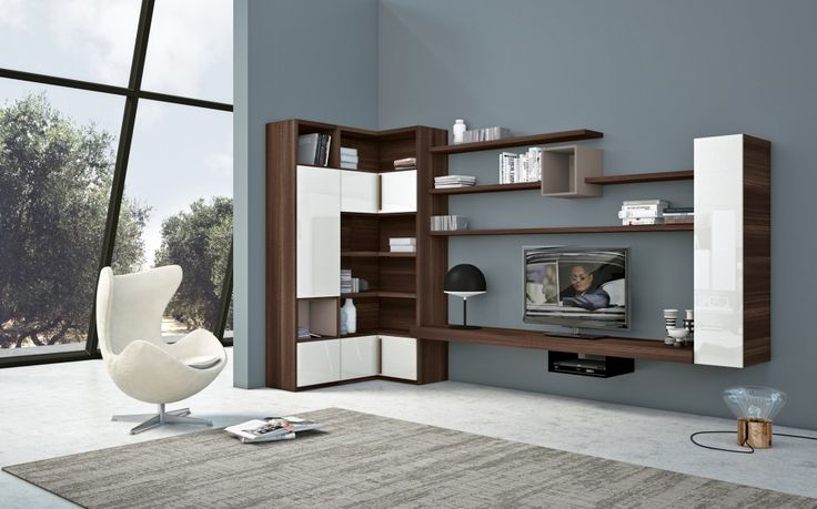 Living Room: Wood Living Room Bookshelves Creative Living Room Wall Units  With Storage In Grey Living Room With White Egg Shaped Chair And Cute Blau2026 Part 47