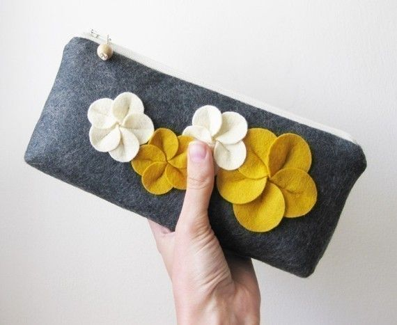 Clutch zipper purse wool felt charcoal gray with by atomique47