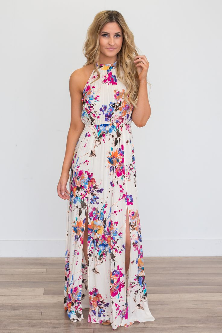 Gardenia Floral Print Maxi Dress - Ivory Multi - Magnolia Boutique