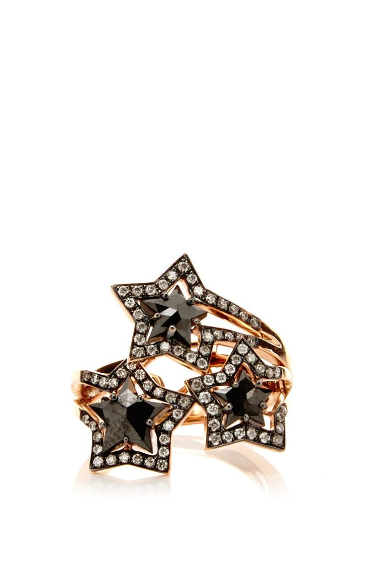 Three Black Diamond Star Ring by Tomasz Donocik for Preorder on Moda Operandi
