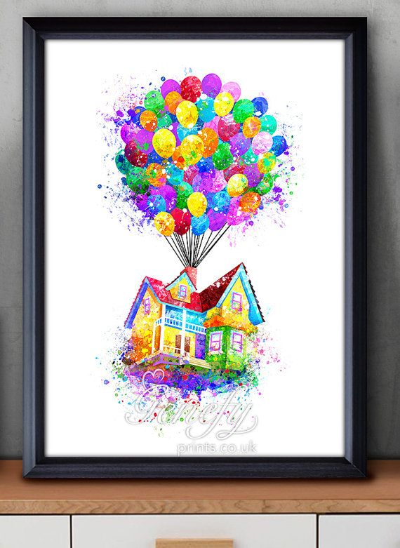 Disney Pixar Up Balloon House Flying House Watercolor Poster