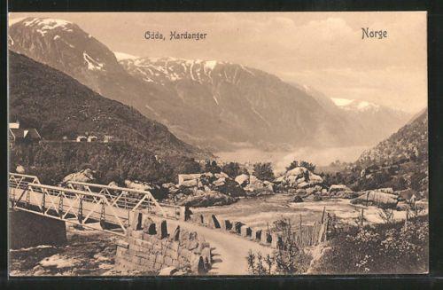 old-Pc-Odda-Hardanger-Blick-von-der-Brucke-auf-den-Fjord
