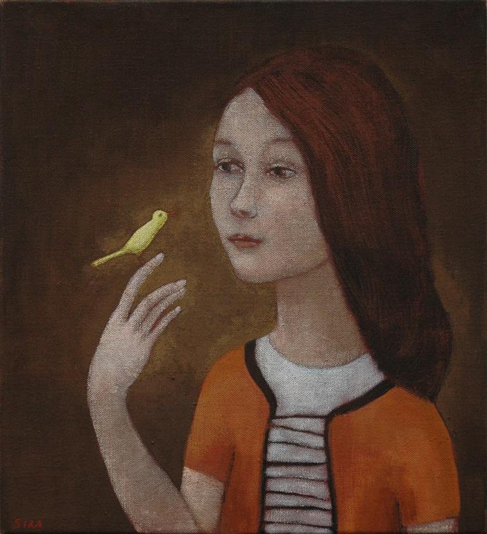 "Saatchi Online Artist: June Sira; Tempera, 2010, Painting ""Canary"""