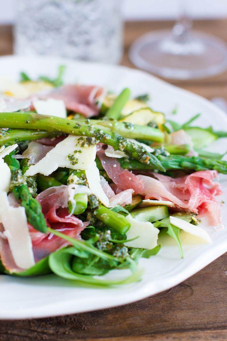 Groene asperge salade met rauwe ham - Zoetrecepten