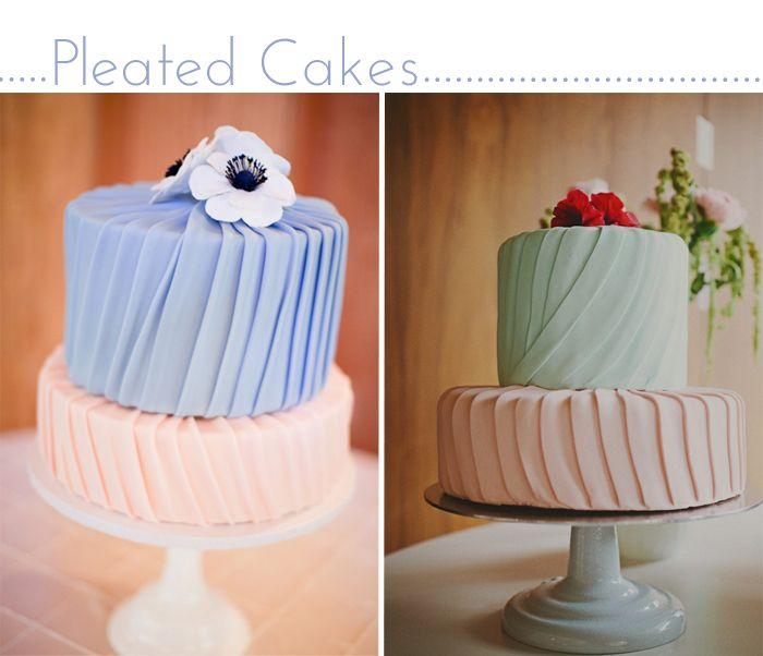 Pleats and colours on two beautiful cakes.