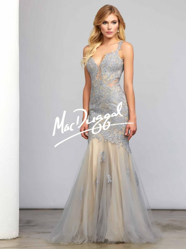 Platinum Couture Dress with Lace Bodice | Mac Duggal ...