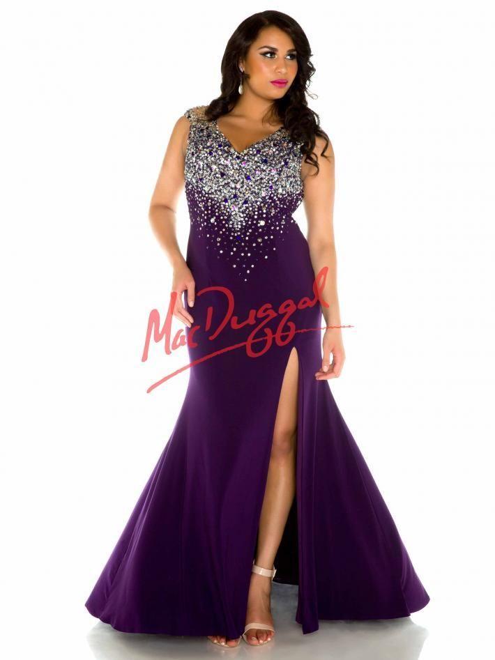 Purple Plus Size Prom Dress Mac Duggal 76759f