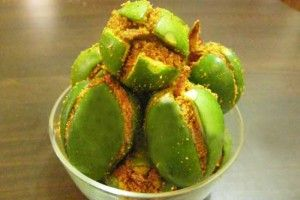 I love Indian mango pickle (aam achar), but this is a different take on it. I want to try it! Stuffed mango pickle. #indian