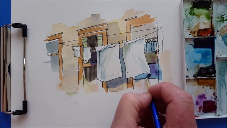 A quick and fun Watercolor Demonstration. Laundry Shadows.