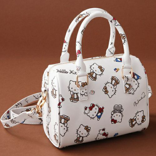 Hello Kitty x Nina mew Leather Handbag Bag White Ninamew JAPAN For Sale-01
