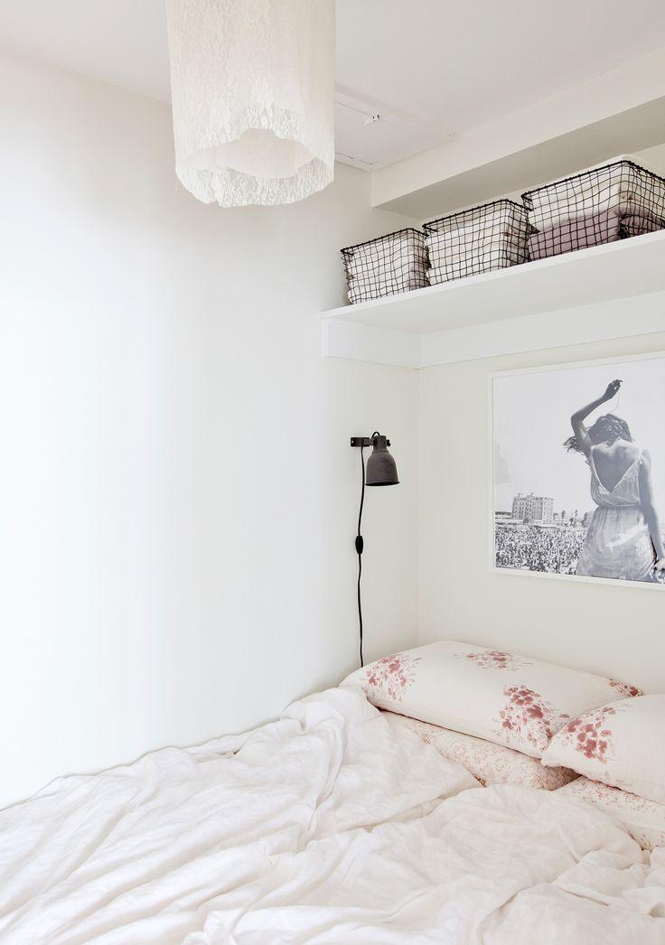 Shelf for storage - Erin Chow's Bright White Alcove Studio in Vancouver | Rue