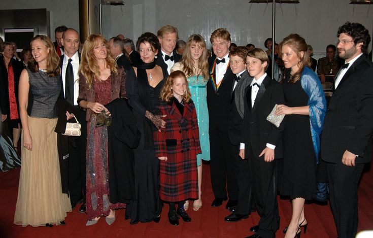 Robert Redford with his kids and grandkids