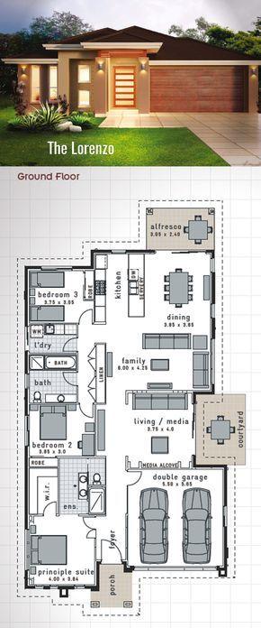 Single Storey House Design - The 'Lorenzo'. 220 Sq.m. 11.75m x 23.15m Jam packed…
