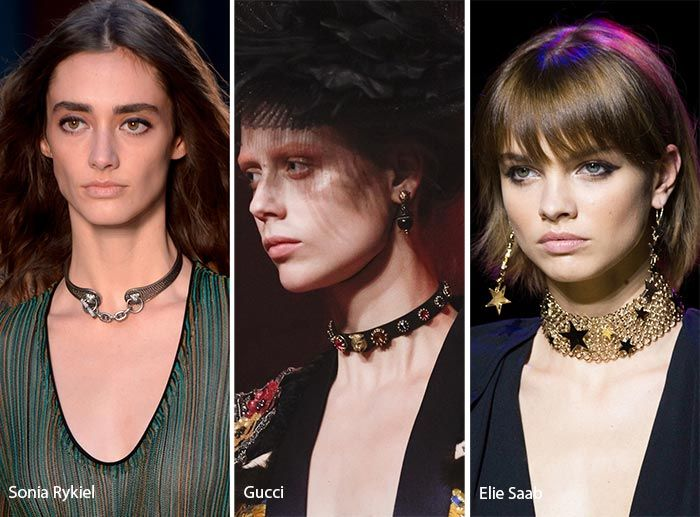 1: No Standstill for Chokers  Oh, my stars and garters! Are chokers ever going to leave the runways? This spring 2017 jewelry trend rooted in the '90s is obviously playing the hardest for several seasons in a row, yet without one iota of monotony to them.  These seductive pieces, able to jazz up any outfit, aren't throwing in the towel in the upcoming season as well. Ranging from thin fragile styles that we noticed at Christian Dior  and Coach 1941 to BDSM-suggestive leather ones at Damir…