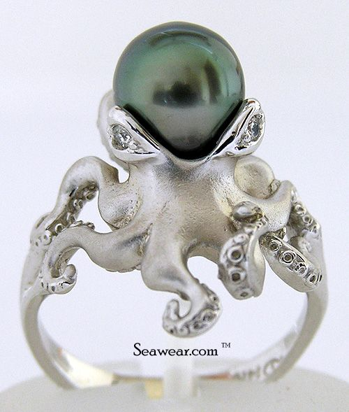 I MUST HAVE THIS. Stephen Douglas octopus ring in 14kt white gold, .02ct diamond eyes and 8-9mm Tahiatian pearl.