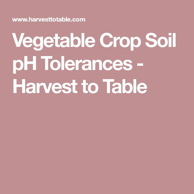 Vegetable Crop Soil pH Tolerances - Harvest to Table