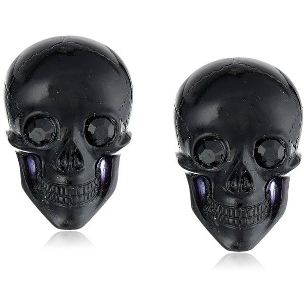 "Scare a little bit of style into your daily attire with the TARINA TARANTINO ""Classic"" Black Lucite Skull Post Earrings. Add these smiling little skulls to you…"