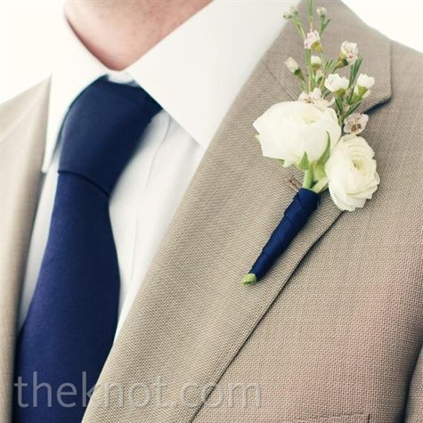 Navy Wrapped Boutonniere | Wedding ideas when i get married