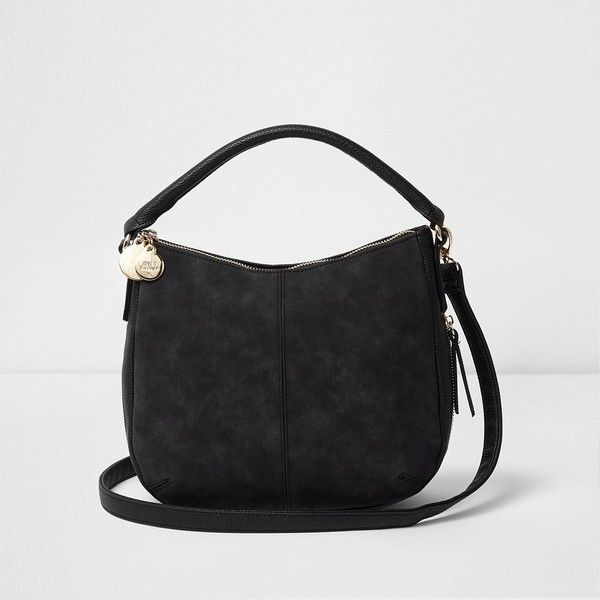 River Island Black scooped underarm bucket bag (960 EGP) ❤ liked on Polyvore featuring bags, handbags, bags / purses, black, shoppers / tote bags, women, shopping tote, man bag, man tote bag and shoulder strap handbags