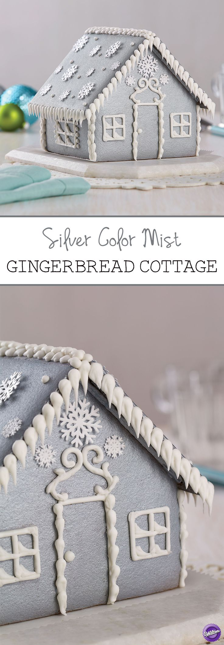 Spray your gingerbread house with Wilton Silver Color Mist for a wonderful wintry gingerbread cottage!