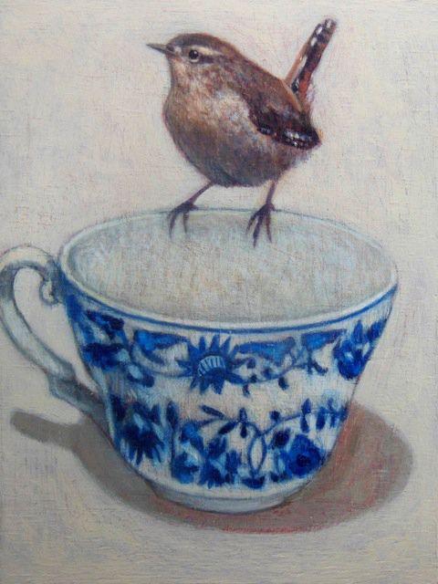 Andrea Letterie, Winterkoninkje op kopje, Gemengde techniek, 20x15 cm, €.250,-