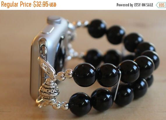 On Sale Ends Monday PM Apple Watch Band, Watch Band for Apple Watch, Black Onyx Apple Watch Bracelet, Watch Bracelet by jewelrysldesigns on Etsy https://www.etsy.com/listing/465028556/on-sale-ends-monday-pm-apple-watch-band