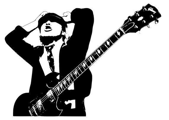Angus Young Pop Art Vinyl Wall Decal Basement Boom