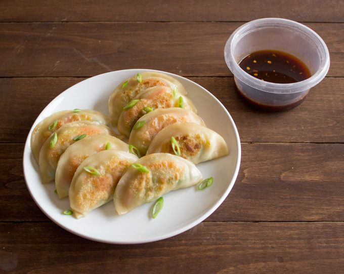 Potstickers stuffed with fresh vegetables served with a spicy soy sauce and sriracha dipping sauce.