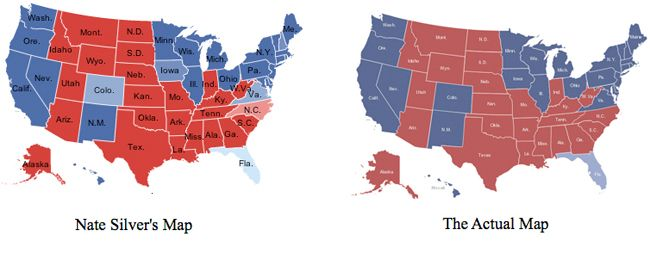 Nate Silver vs. actual election results.