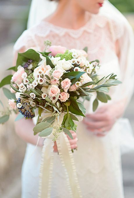 Brides: Rose Bud and Olive Leaf Bouquet. When you're hosting a fairytale destination wedding in Florence, Italy, dreamy blooms are practically a requirement. When Victoria married Jonathan abroad, she carried an arrangement of rose buds and olive leafs, created by La Rosa Canina Floral Design.