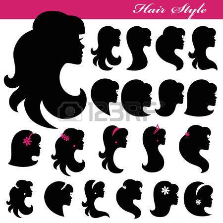silhouette elegant woman: Девушка лицо Silhouette set.Profiles волос style.Logo Иллюстрация