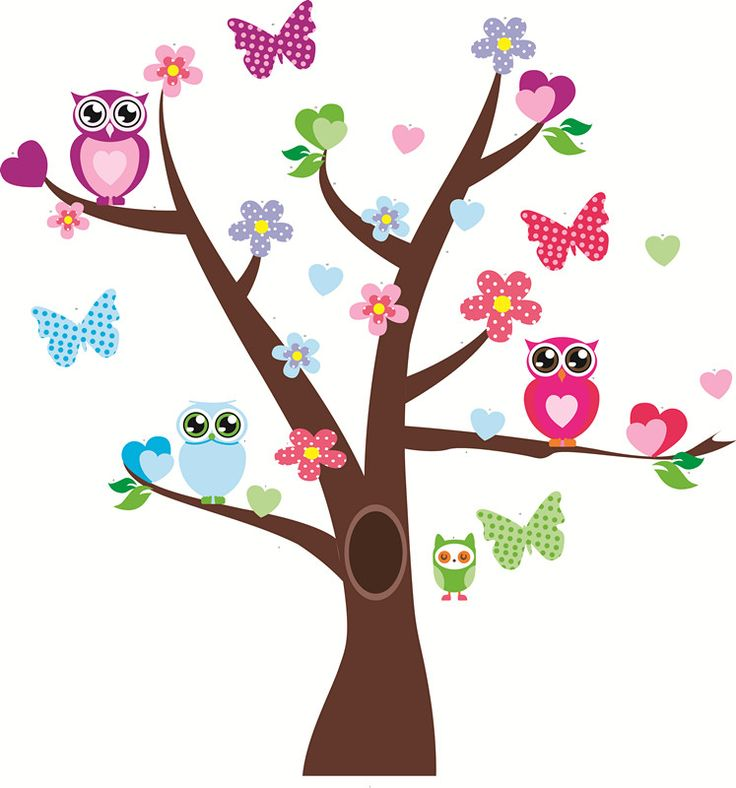 Owls and Butterflies Decal  Visit Facebook for more children's Wall Decals.  Precious Little Angels