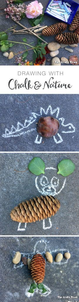Drawing with chalk and nature