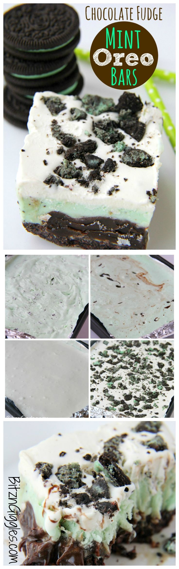 Chocolate Fudge Mint Oreo Bars - Mint chocolate chip ice cream dessert with a crunchy Oreo crust and fudge swirled throughout!
