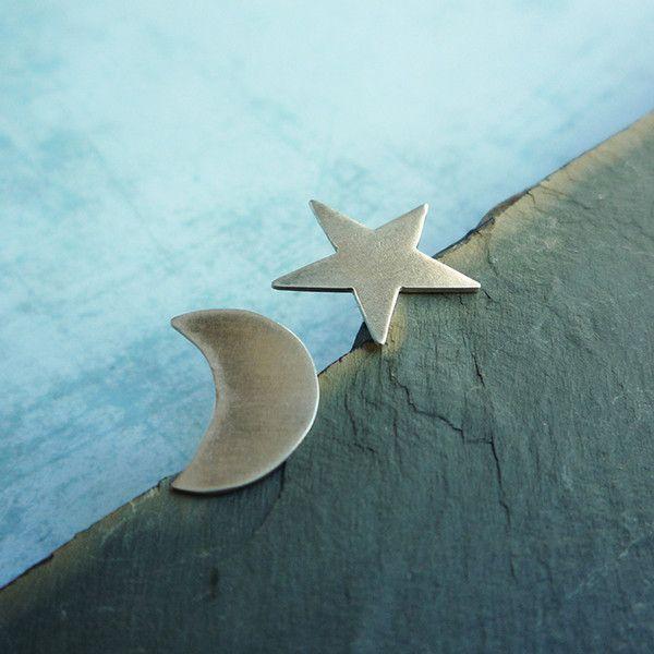 Silver Studs – Asymmetric stud silver earrings - moon and star – a unique product by Carla-Amaro on DaWanda