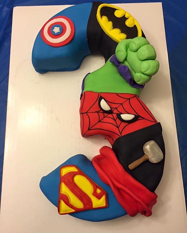 Superhero Birthday Cake #logansthirdsuperherobirthday #superheroparty #chrissyscraftcreations #superherobirthday #superherocake #captainamerica #batman #hulk #spiderman #thor #superman #3 #3cake #thirdbirthday #superherothemedparty #superherotheme