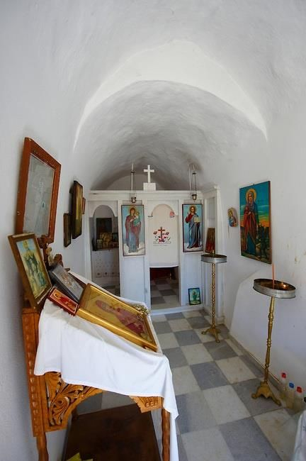 Interior of Greek Orthodox Chapel with Icons - Naxos Cyclades Islands, Greece