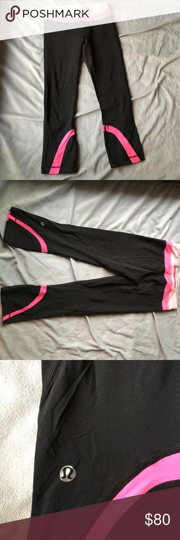 🌟1hr sale🌟 Lululemon inspire crop in black/pink Features two front hideaway pockets as well as a back zipper pocket, very slight after style! Back of the leg is a breathable messy material. I ❤️ offers! lululemon athletica Pants Leggings