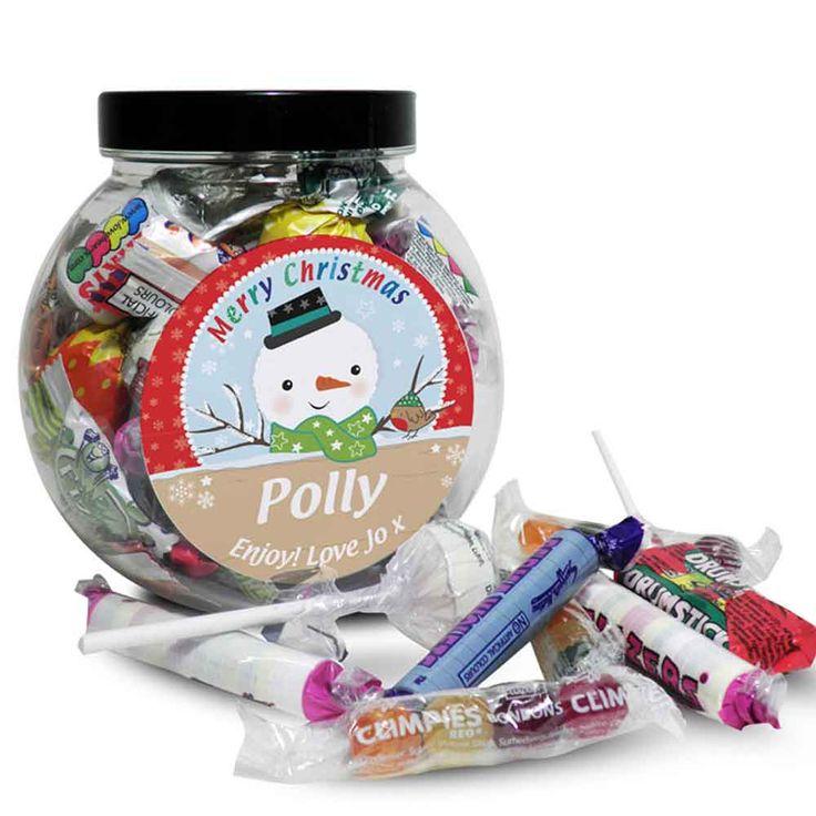 Personalised Snowman Christmas Sweet Jar