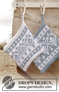 """Knitted DROPS pot holder with Norwegian pattern in """"Paris"""". ~ DROPS Design"""