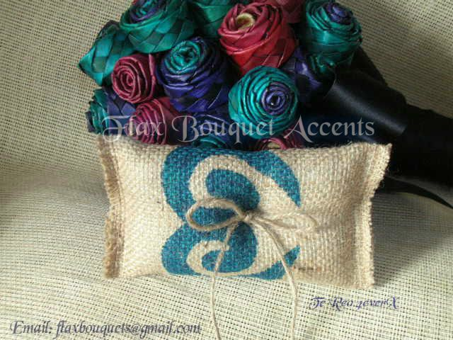 Flax Bouquet Accents - Gorgeous 2 toned plaited Flax Rose Bouquet with Double Koru Maori patterned Burlap Ring Cushion