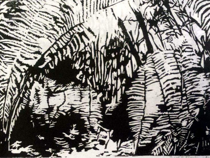 Linosnitt. Gerd Elgshøen. Bregneskog i froskeperspektiv