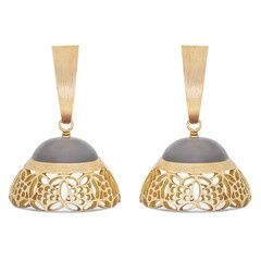 Rasvihar Lace Series Moonstone Jhumki - Tradition is reinvented in this pair of 18-karat gold jhumkis from our Lace series, with the classic jhumki design tweaked to modern sensibilities. A burnished, subtly tapered half-bali supports the jhumki and a gently rounded, gleaming grey moonstone gives way to pretty gold fret work in floral motifs that spell grace and feminine charm.