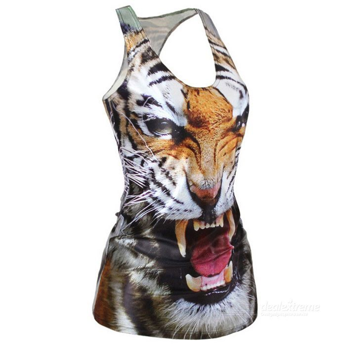 Women's Sexy Cool Tiger Pattern Elastic Slim Nylon + Spandex Vest Top - White + Black + Multi-Color