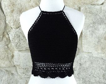 Crochet Crop Top Boho Hippie White Crochet Top Halter Top