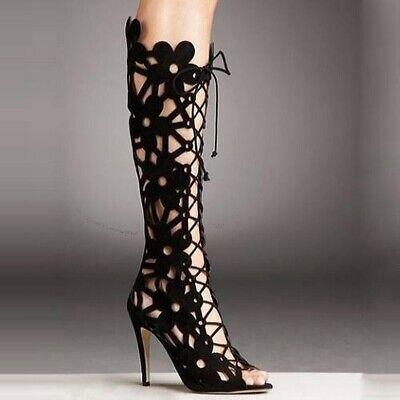SEXYManolo Blahnik Kahika Floral Laser-Cut Lace-Up Black Boot 39 RTL $ 1595 #fas… – Heels