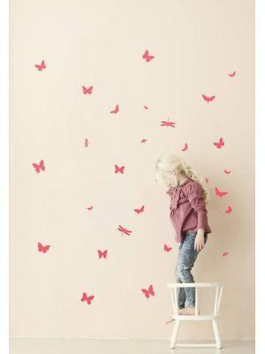Ferm Living Muursticker mini vlinders Wall Stickers - Mini Butterflies Neon roze