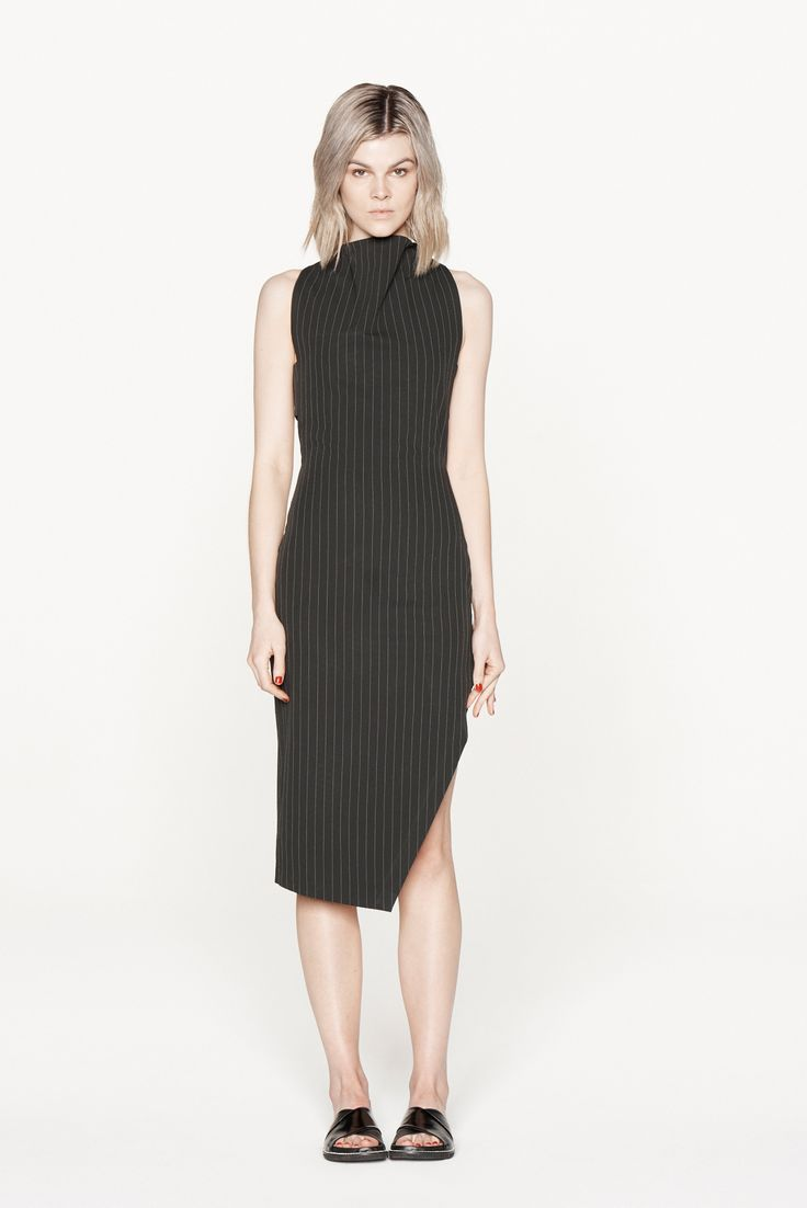 THIRD FORM RESORT 15 | DIVIDER DRESS  #thirdform #fashion #streetstyle #minimal #trend #chic #dress #black #pinstripe