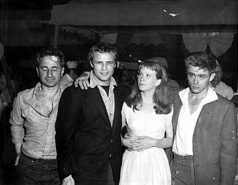 Elia Kazan, Marlon Brando, Julie Harris and James Dean in East of Eden set. Jimmy looking nervous.