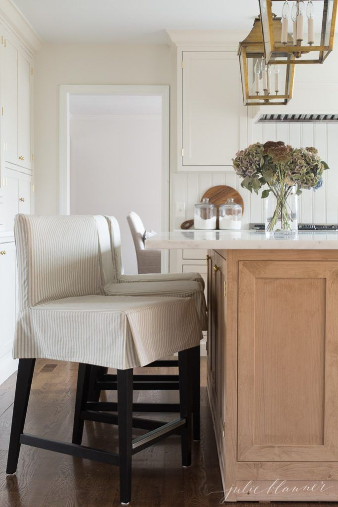Counter Height Stools From Ikea With Custom Ticking Stripe